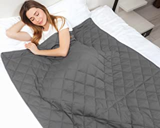 """IkovA Weighted Blanket for Adult & Kids - Queen Size 60""""x80"""" 15 lbs Grey - 100% Breathable Cotton with Non-Toxic Glass Beads"""