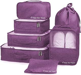 مجموعة صناديق التعبئة 7 قطع منظم الأمتعة السفر مع حقيبة الغسيل