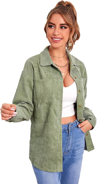 Floerns Women's Corduroy Jacket Long Sleeve Button Down Casual Outwear