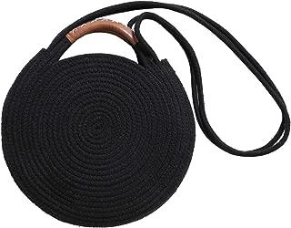 Round Cotton Rope Shoulder Bag with Leather Top Handles and Shoulder Strap, Handmade Natural Material Handbag, Ultra Soft