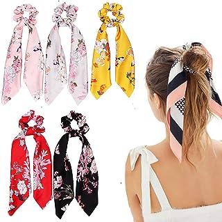 Silk Hair Scrunchies, Hair Scarf with Flower Pattern, Stripe Printed Hair Bobbles for Ponytail Holder (5 Pcs Flower Pattern Silk)