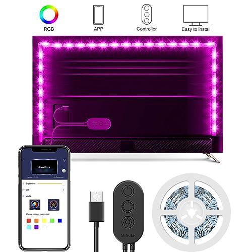 2M Ruban à LED RGB Avec APP, Minger USB Rétroéclairage TV Bande Led 5050  Flexible