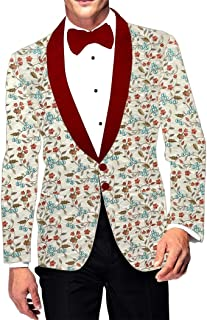 INMONARCH Mens Shawl Collar Slim fit Embroidered Ivory Blazer Sport Jacket Coat SBM1040