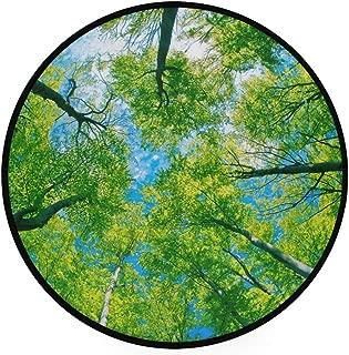 Round Area Rug Green Forest Tree Art Deco Non-Slip Backing Playing Floor Mat for Living Room Bedroom, 3 Feet Diameter