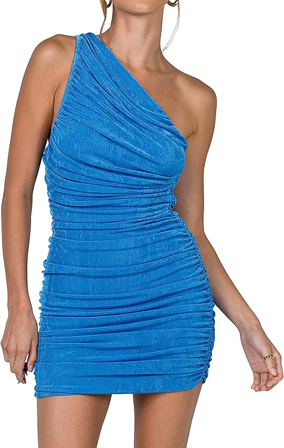 Soulomelody Women's Sexy One Shoulder Ruched Sleeveless Bodycon Party Club Cocktail Dresses Mini Short Dress