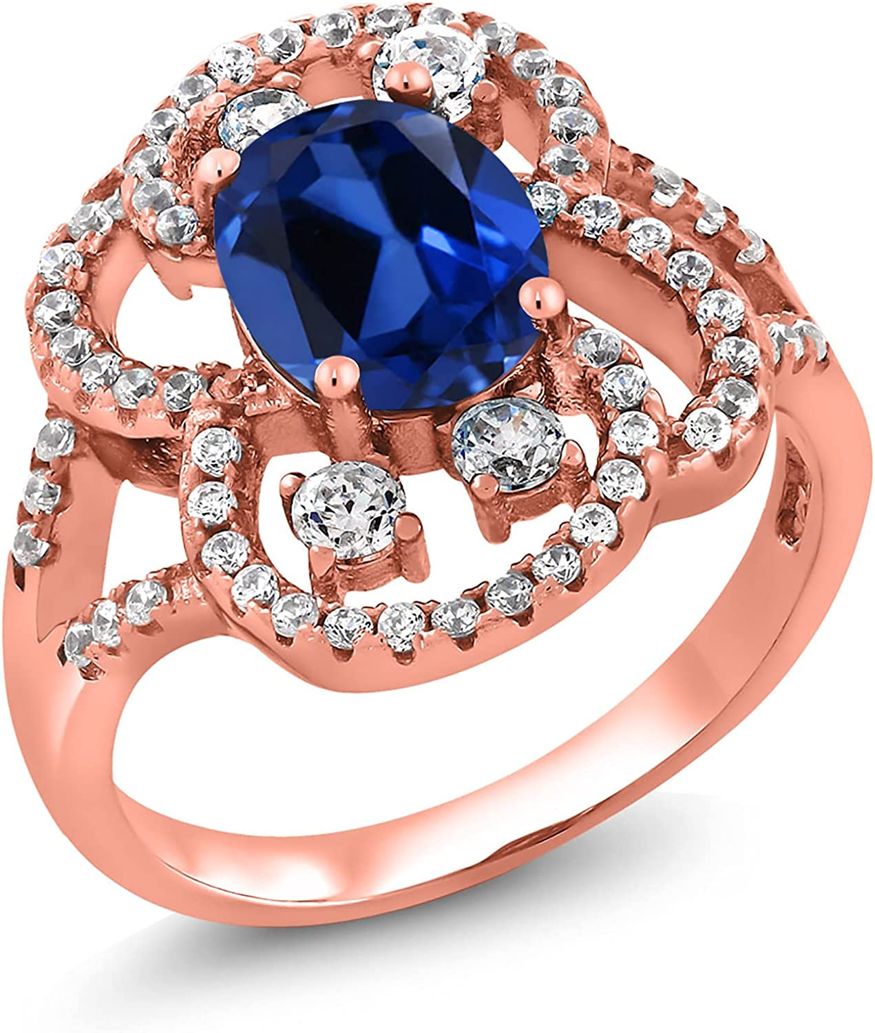 Gem Stone King 3.12 Ct Oval Sapphire Tampa Mall Created Charlotte Mall Gold Rose Blue 18K