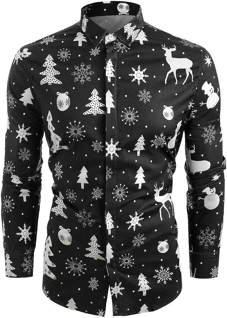 VEKDONE Men's Christmas Shirt,Santa Claus Party Printed Casual Button Down Hawaiian Ugly Christmas Shirt