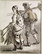 Posterazzi Poster Print Collection Cries of London Nman and Woman with Mops./Npen and Watercolor by Paul Sandby 1759, (18 x 24), Multicolored