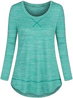 Koscacy Women's Long Sleeve Crewneck Yoga Tops Loose Fitting Basic Workout Shirt