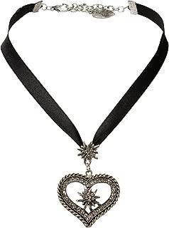 Alpenflüstern Bavarian Satin Ribbon Necklace Heart with Rhinestone Edelweiss Flower (Black) - Traditional German Dirndl Jewelry