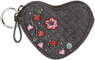 Vera Bradley Iconic Heart Bag Charm in Denim Navy with embroidered hearts and flowers