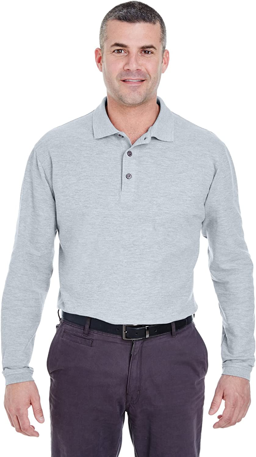 UltraClubMen's Relaxed Fitted Long Sleeve Pique Knit Polo Shirt