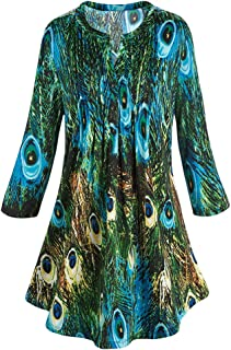 CATALOG CLASSICS Women's Tunic Top Green & Blue Peacock Feathers Pleated Blouse Pleated Bodice