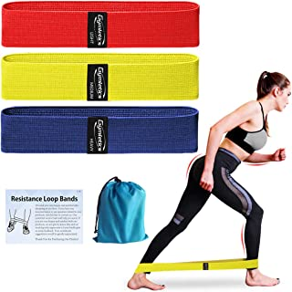 Gymletics Resistance Exercise Loop Bands, Fabric Non Slip Booty Bands Workout Bands, 3 Pack Fitness Bands for Activate Glu...