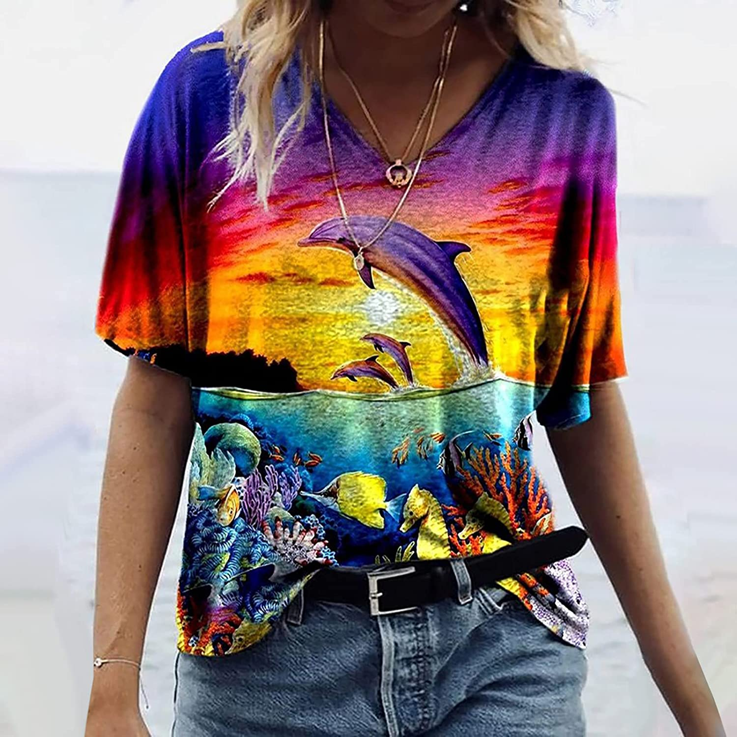 3D Printed T-Shirts for Women Short Sleeve Tops Colorful Graphic Tees Cute V-Neck Blouses Triple Color Tunic