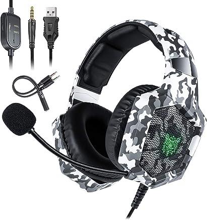 Deruitu Casque de Gaming pour PC PS4 Xbox One, ONIKUMA LED lumière Surround Sound Gaming Casque avec Microphone pour Ordinateur Portable/Mac OS/téléphone Portable/Tablette, etc.