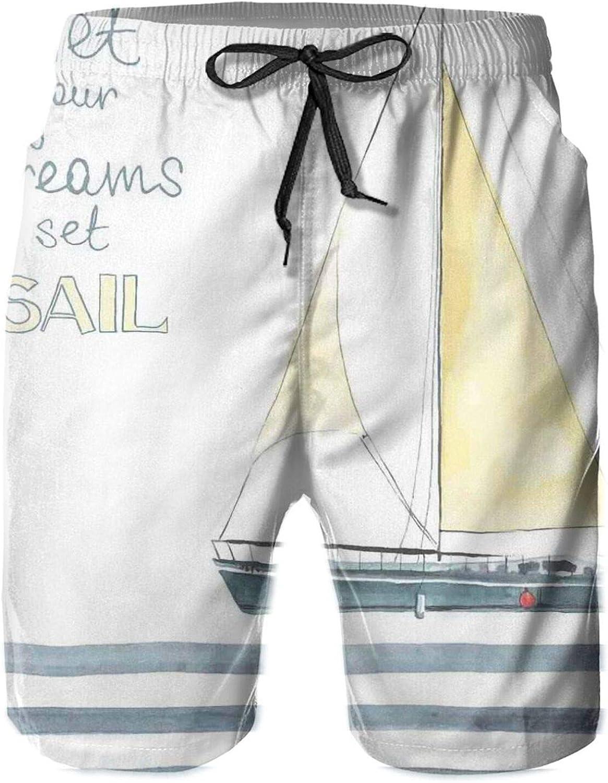 Let Your Dreams Set Sail Quote Stripes Yacht Interior Navigation Theme Mens Swim Shorts Casual Workout Short Pants Drawstring Beach Shorts,L