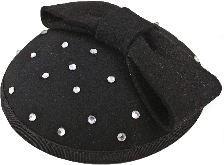 Hey Viv! Black Pillbox Fascinator Hat w Bow & Rhinestones - Retro Cocktail Style