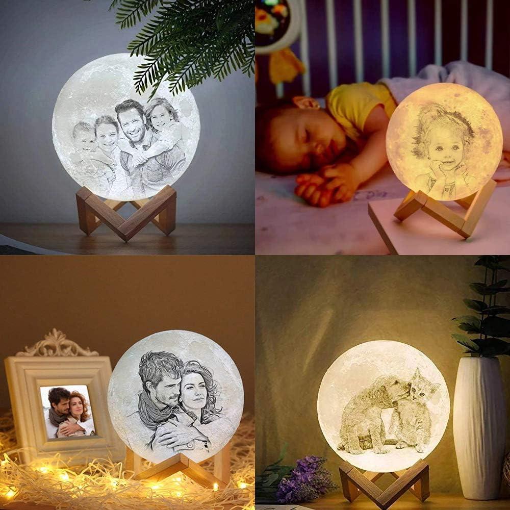 mood Light con telecomando adatta per Camera Bambini per regalo di compleanno di Natale Capodanno 12cm 3 Colori Personalizzata Lampada luna ACED LED luce notturna con foto e testo Luce Decorativa