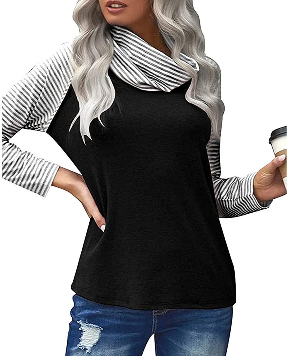 Womens Sweatshirt Crewneck Long Sleeve Turtleneck Striped Casual Loose Classical Fit Lightweight Pullover for Women