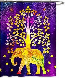 FKOG Rainbow Elephant Mandala Tree of Life Shower Curtain Set Good Luck Bohemian Artwork Polyester Waterproof Bath Decor Yellow Pink Purple 70 Wx70 L Inches