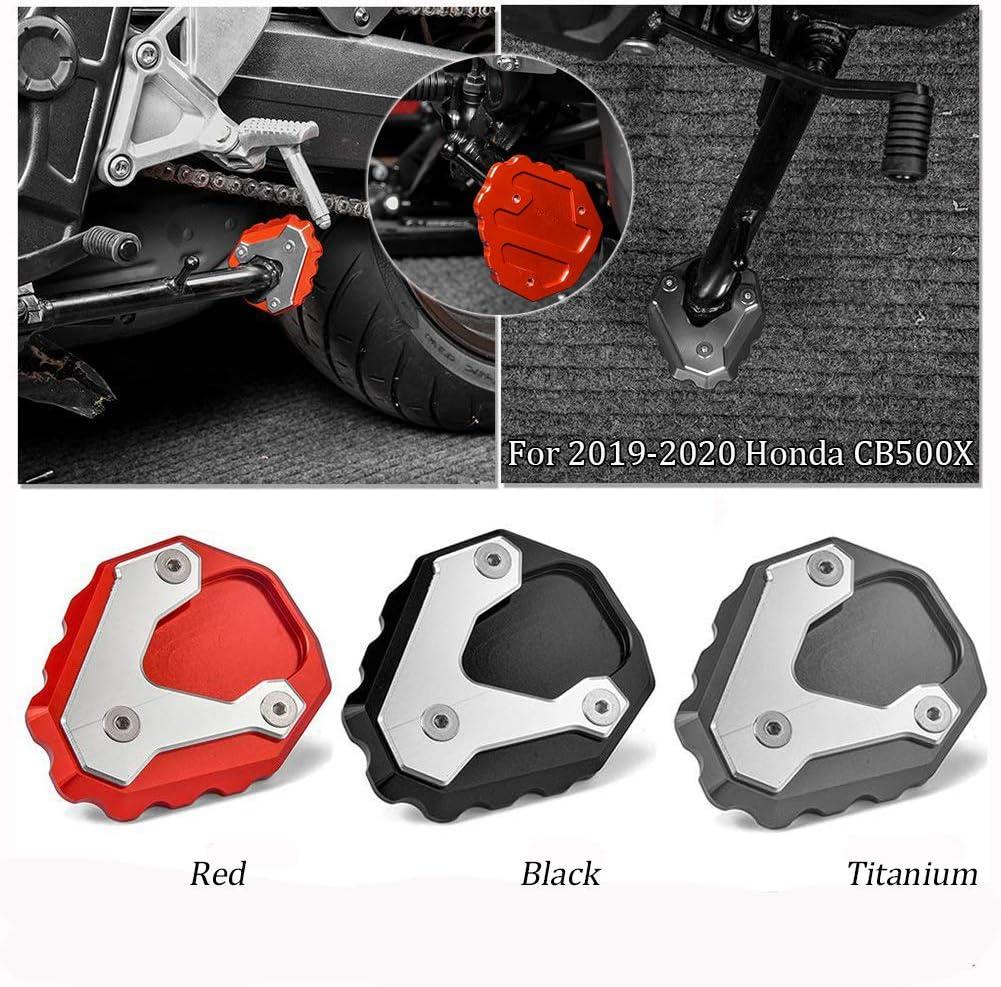 Motorrad Cnc Aluminium Side Kick Stand Kickstand Stützplatte Fußpolster Vergrößerung Für 2019 2020 Honda Cb500x Cb 500x Motorradzubehör Rot Auto
