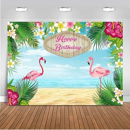 Mocsicka Flamingo Birthday Backdrop 7x5ft Birthday Party Background Floral Greenery Photo Backdrop Summer Party Hawaiian Tropical Photography Background