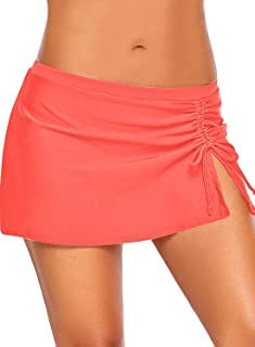 GRAPENT Womens Pleated A-Line Swim Skirt Flared Beachwear Solid Swimwear Bottom
