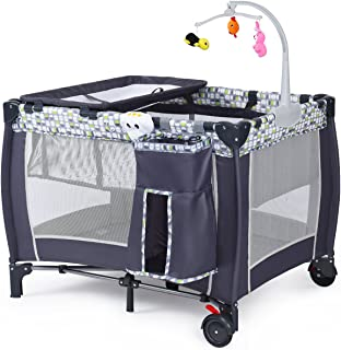 All in 1 Baby Playard, Convertible Playpen with Bassinet, Changing Table, Foldable Travel Cot with Music Box, Whirling Toy...