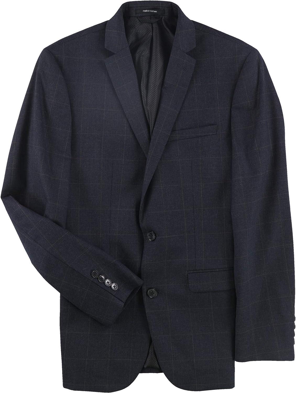 bar III Mens Windowpane Two Button Blazer Jacket