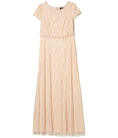 Adrianna Papell Long Beaded Blouson Gown (Champagne Sand) Women