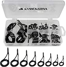 thkfish Fishing Rod Guide Repair Kit Spinning Rod Guides Ceramics Stainless Steel Carbon Black Guide Repair 8 Sizes 75pcs