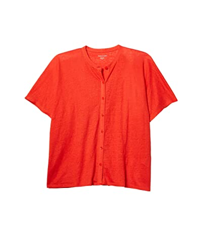 Eileen Fisher Mandarin Collar Shirt (Geranium) Women