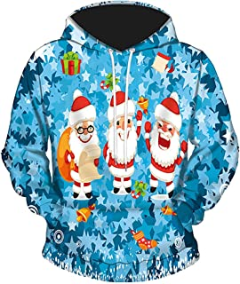 Jocome Men Winter Christmas Long Sleeve Hooded Coat Pullover Outwear Tops Blouse Big and Tall Ugly Christmas Sweater