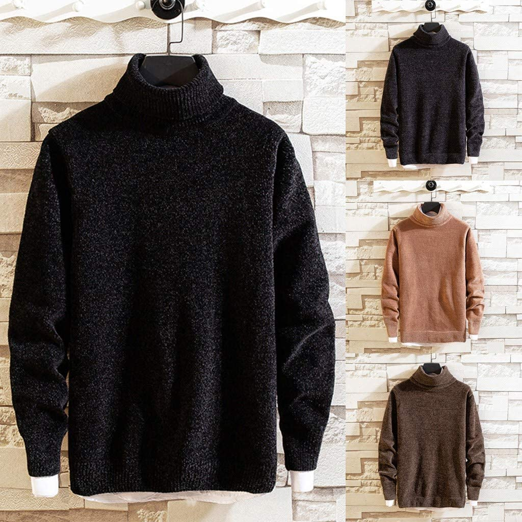 Men Autumn Winter High Collar Pure Color Knitted Sweater Turtleneck Jumper Top
