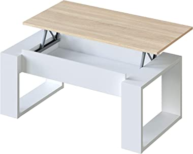 Mesa de Centro Elevable, Mesita de Salon, Comedor, Modelo Nova, Acabado en Blanco Artik y Roble Canadian, Medidas: 105 cm (La