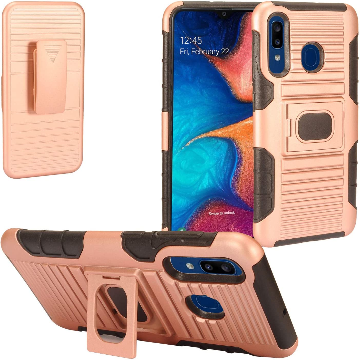 Z-GEN - Compatible with Samsung Galaxy A20, Galaxy A50 - Defender Hybrid Phone Phone Case w/Stand/Belt Clip Holster - ST5 Black/Rose Gold