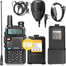 Ham Radio Walkie Talkie UV-5R Pro 8-Watt Dual Band Two Way Radio with one More 3800mAh Battery and Handheld Speaker Mic an...