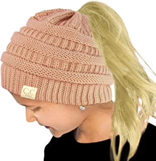 Kids Ponytail Messy Bun BeanieTail Soft Winter Knit Stretch Beanie Hat f59edda1b055