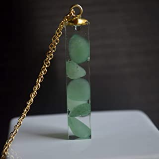 Verde Venturina Natural Piedra Transparente Cubo Resina Colgante 18k Chapado en Oro Cadena Collares
