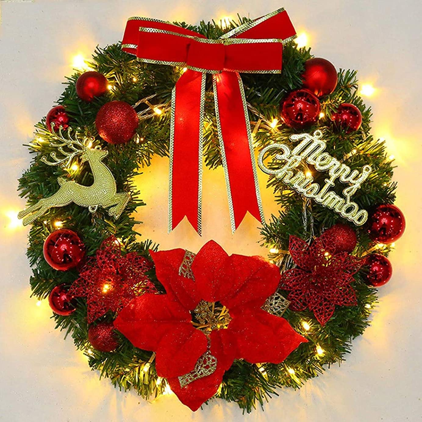 経験泣き叫ぶアナリストクリスマス リース 鹿と手紙 直径40cm クリスマス オーナメントり付き 贈り物 造花 ギフト 年末 冬 イベント 部屋 玄関 飾り 装飾品