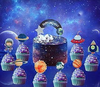 JeVenis Lot de 27 décorations de gâteau d'anniversaire Motif système solaire