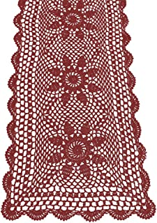 KEPSWET Sunflower Cotton Handmade Crochet Lace Rectangle Table Runner Coffee Table Decor (14x36 inch, Wine Red)