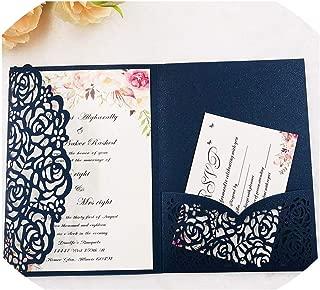 1Pcs Hollow Laser Cut Tri-Fold White Rose Flower Pocketfold Wedding Invitation Card Pocket,A141 Dark Blue,Cover Only