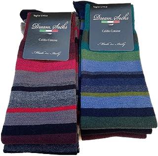 DREAM SOCKS 6 PAIA di calze calzini UOMO LUNGHE caldo cotone elasticizzate,100% Made in Italy,vari assortimenti