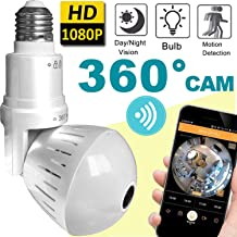 [ New upgrade ]  Bulb WiFi IP Camera Wireless Fisheye Spy Hidden Cameras 360° Panoramic for Home Security System Baby Nanny Pet Cat Dog Indoor Night Vision Motion Detection Alarm Smart Home Gifts