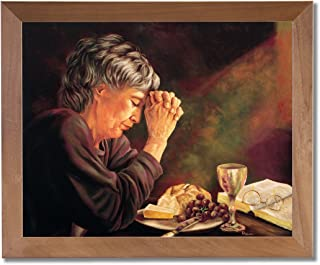 Gratitude Old Lady Praying at Dinner Table Daily Bread Woman Religious Wall PictureHoney Framed Art Print