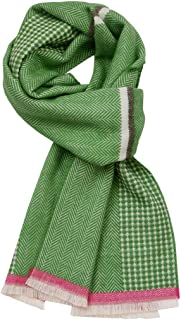 Ladies - Green Herringbone Woven Scarf -