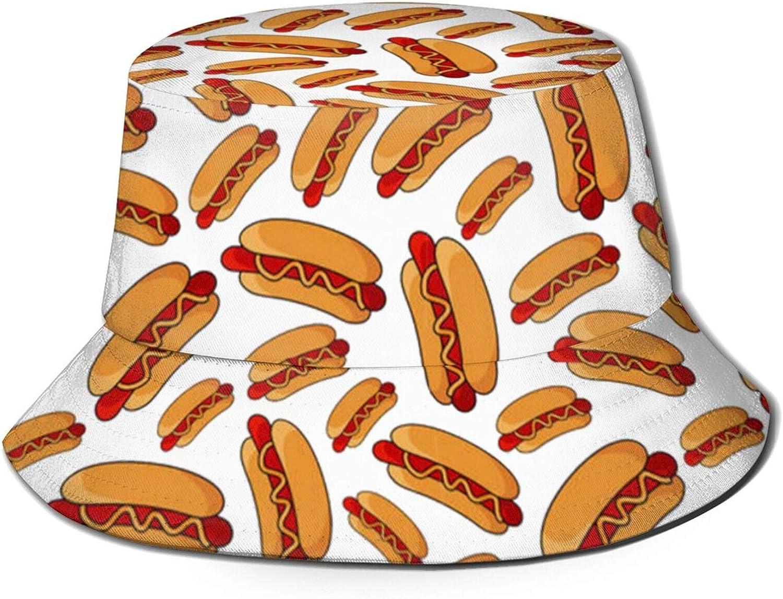 Hot Dog Bucket Hat Sun Uv Protection Foldable Fisherman Cap for Fishing Beach Outdoor
