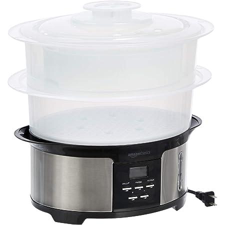 Amazon Basics 8.5 Quart 2-Tiered Digital Food Steamer - Black & Stainless Steel